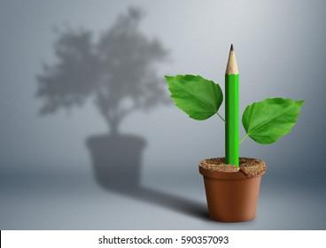 new idea creative concept, pencil growing from pot