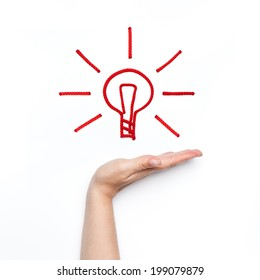 new idea with shining bulb on the palm in hand conceptual business photo