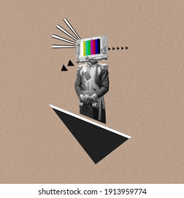 New ideas. Renaissanse man headed by old TV isolated on background. Negative space to insert your text. Modern design. Contemporary colorful and conceptual bright art collage, art collage. Visual art. - Shutterstock ID 1913959774
