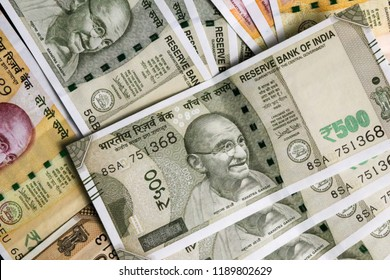 new indian currency, 200 and 500 rupees note as background