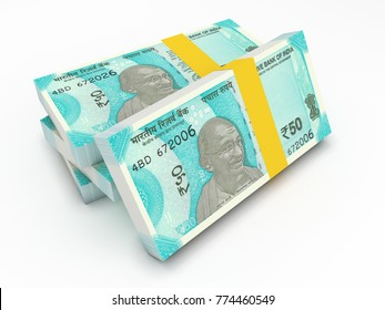 New Indian Currency 50 Rupee - 3D Rendered Image