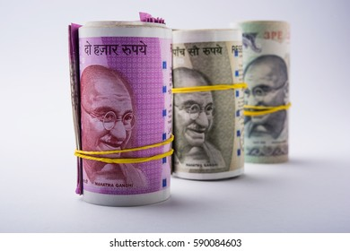 New Indian Rupees Roll or Bundle, selective focus