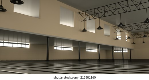 New industrial warehouse inside view, 3d render