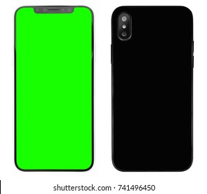 New iphone 10 smart phone concept with double photo camera.Big touch screen cell phone.Place mobile app logo on green chroma key touchscreen.Isolated black iphone x smart phone