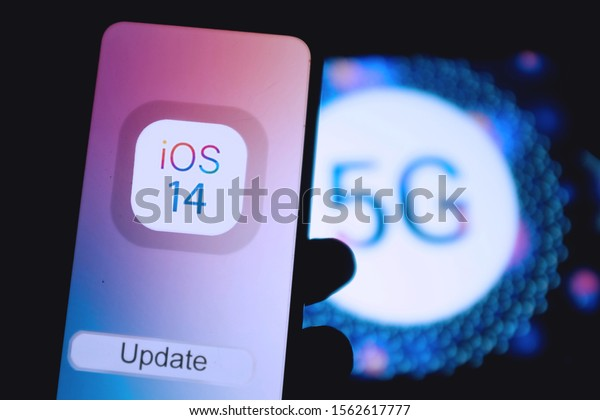 New iphone with the apple installation screen with the new IOS 14 operating system next to supposedly come out with 5G. Sunday, November 17, 2019, New York, United States.