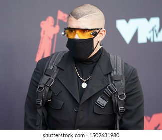 NEW JERSEY - AUGUST 26, 2019: Bad Bunny attends the MTV Video Music Awards at the Prudential Center on August 26, 2019, in Newark, New Jersey.