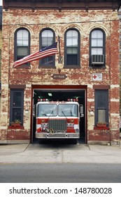 NEW JERSEY - CIRCA 1990's: Fire engine parked in firehouse, NJ