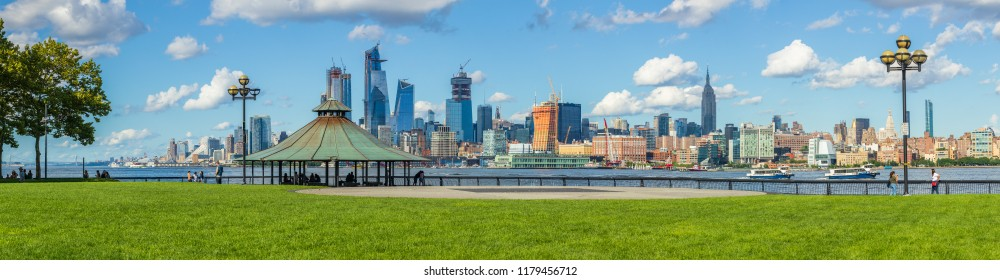 New Jersey City/New Jersey/USA - August 4 2018: People are resting in the Hoboken Riverside Park.