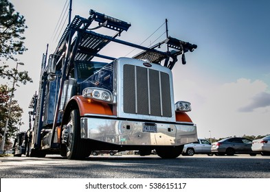 New Jersey, December 10, 2016: Truck with a double decker structure for shipping cars on a parking lot of a rest area on Garden State Parkway.