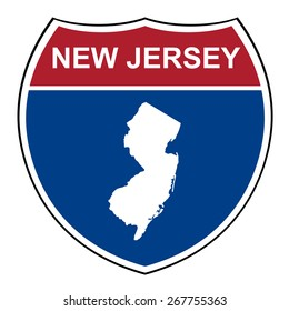 New Jersey interstate highway road shield isolated on a white background.
