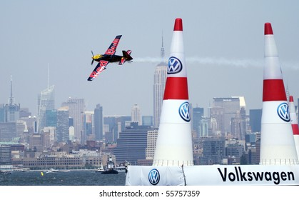 NEW JERSEY - JUNE 19: Pilot Kirby Chambliss from Massachusetts qualifies for the Red Bull Air Race on June 19, 2010 at Liberty State Park in New Jersey.