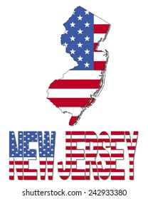 New Jersey map flag and text illustration