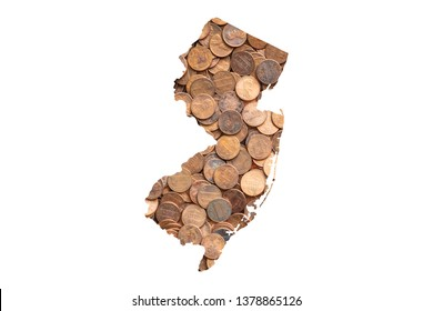 New Jersey Map and Money Concept, Piles of Coins, Pennies