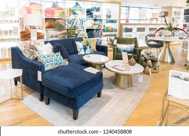 New Jersey, NJ, November 25 2018:west elm was born in Brooklyn in 2002. A branch of Williams–Sonoma, Inc, It's focused on the intersection of modern design, affordability and community. Everything sel