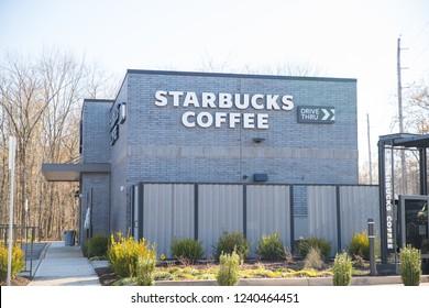 New Jersey, NJ, November 25 2018:Starbucks Coffee store front. Company signboard Starbucks Coffee.