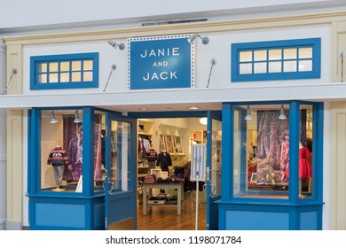 New Jersey, NJ, October 6 2018:Janie and Jack store front, Children's Clothing and Newborn Clothing at Janie and Jack