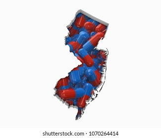 New Jersey NJ Pills Drugs Health Care Insurance Map 3d Illustration