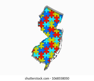 New Jersey NJ Puzzle Pieces Map Working Together 3d Illustration
