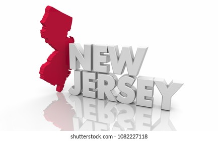 New Jersey NJ Red State Map Word 3d Illustration