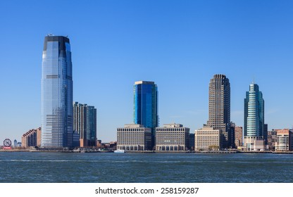 NEW JERSEY, NOVEMBER 18:  The waterfront of Jersey City as viewed from the Hudson River on November 18th, 2014.  The Goldman Sachs tower can be seen dominating the skyline at 238 metres high.