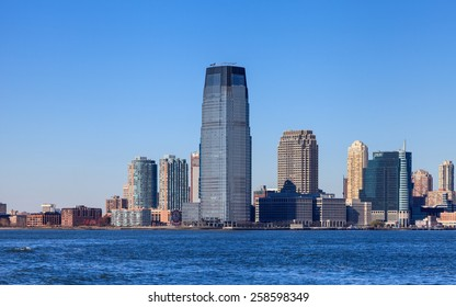 NEW JERSEY, NOVEMBER 18:  The waterfront of Jersey City as viewed from the Hudson River on November 18th, 2014.  The Goldman Sachs tower at 238 metres high dominates the skyline.