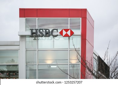 New Jersey, November 26, 2018:HSBC bank branch in New Jersey. HSBC Holdings plc is the fifth largest bank by total assets in the world.