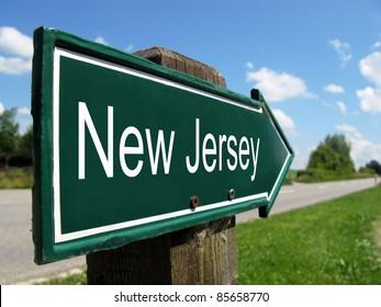 New Jersey signpost along a rural road
