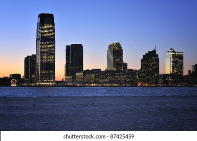 New Jersey Skyline with skyscrapers at night, USA
