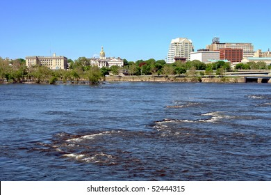 New Jersey State Capitol and government office buildings in Downtown Trenton across the Delaware River