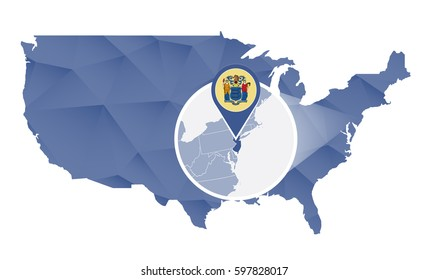 New Jersey State magnified on United States map. Abstract USA map in blue color. Raster copy.