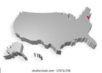 New Jersey state on Map of USA 3d model on white background