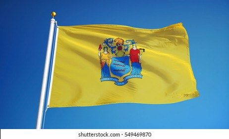 New Jersey (U.S. state) flag waving against clear blue sky, close up, isolated with clipping path mask alpha channel transparency, perfect for film, news, composition