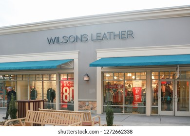 New Jersey, USA, January 1, 2019:Wilsons Leather retail store front in New Jersey - Image