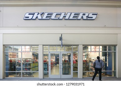 New Jersey, USA, January 1, 2019:Skechers store in New Jersey Shopping Mall. Skechers USA Inc. is an American lifestyle & performance footwear company for men, women and children. - Image