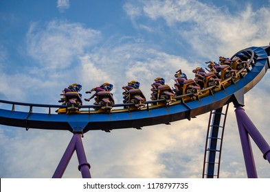 NEW JERSEY USA - JUNE 20 2016: Bizarro is a twisted modern roller coaster taking as much as 4 Gs at 60 miles per hour in Six Flags Great Adventure park - New Jersey