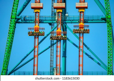 NEW JERSEY USA - JUNE 20 2016: Zumanjaro Drop of Doom is the tallest and fastest drop ride in the world, lifting riders up 415 feet speeding down up to 90 mph. Six Flags Great Adventure - New Jersey