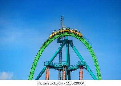 NEW JERSEY USA - JUNE 20 2016: Kingda Ka is the tallest and fastest roller coaster in North America. It is 456 feet high and accelerates from 0 to 128 miles/h in 3.5 seconds. Six Flags Great Adventure