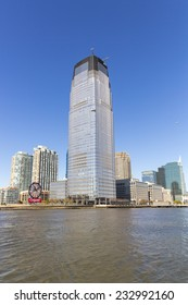 New Jersey, USA - November 3: View of the Hudson Street skyscraper and the New Jersey skyline in New Jersey, USA on November 3, 2014.