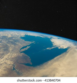 New Jersey and New York from space with stars above. Elements of this image furnished by NASA.