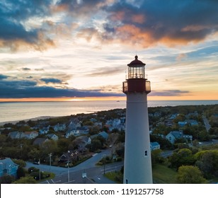 New Jersey's Cape May Lighthouse captured at sunset from an aerial drone
