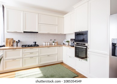 new kitchen interior with modern furniture in luxurious home