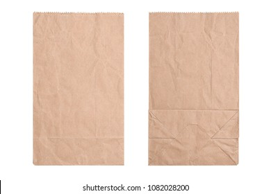 New kraft paper bag laying flat front and back isolated white background . Brown paper bag, flat lay.