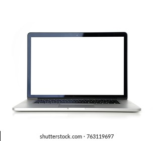 New laptop display with keyboard with blank screen isolated on a white background