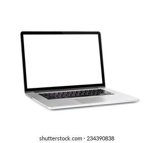 New laptop with a popular design. Isolated on white background