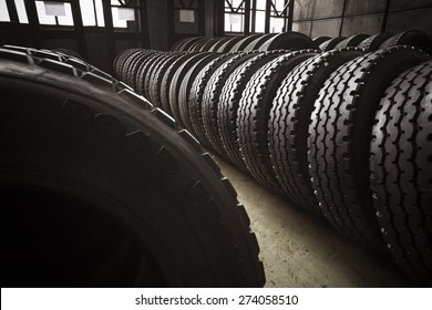 New, large tires of a bus garage