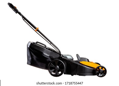 A new lawn mower standing sideways on a white background
