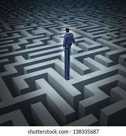 New leadership vision for finding solutions as a businessman who has grown long legs to rise above a complicated maze or labyrinth as a business concept of innovative thinking for financial success.