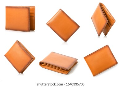 New leather brown men wallet isolated on white background
