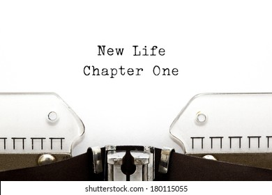 New Life Chapter One printed on an old typewriter.