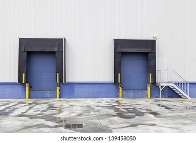 New loading dock, trucking industry detailed background with industrial detail